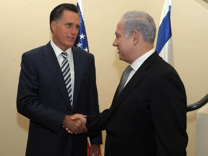 Mitt Romney greets Prime Minister Benjamin Netanyahu in Jerusalem on Jan. 13, 2011.