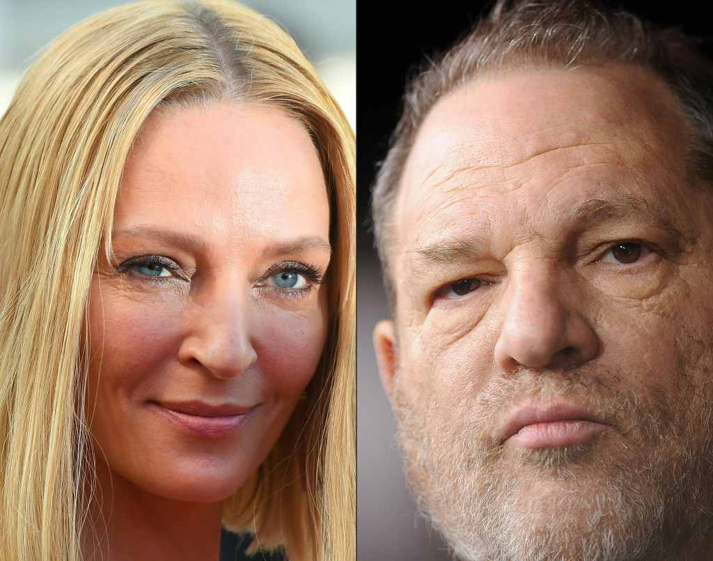 This combination of file photos created on February 3, 2018 shows actress Uma Thurman arriving on May 28, 2017 and former Producer Harvey Weinstein on December 16, 2013.