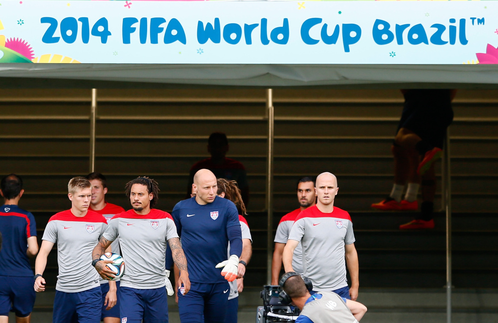 The US Men's National Team enters the pitch for training at Estadio das Dunas on June 15, 2014 in Natal, Brazil.