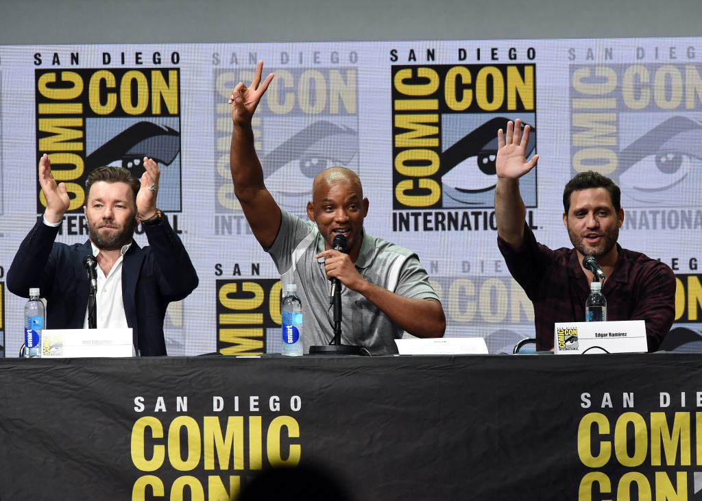 SAN DIEGO, CA - JULY 20:  (L-R) Actors Joel Edgerton, Will Smith and Edgar Ramirez speak onstage at Netflix Films: