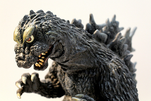 Godzilla action figure shot at the Kaiyodo Figure World Exhibition.