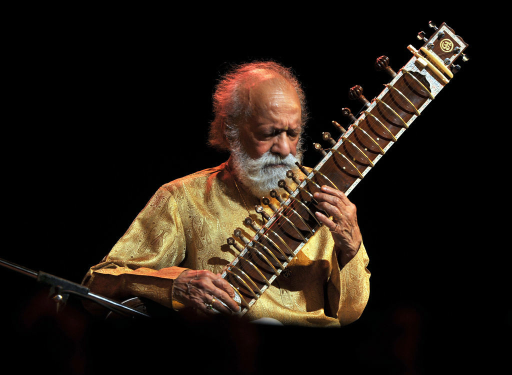 Renown Indian Sitar maestro, Pandit Ravi Shankar plays during the