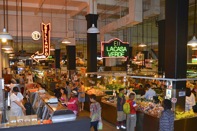 The interior of Grand Central Market in downtown Los Angeles, taken September 2014.