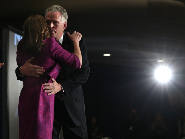 Democrat Terry McAuliffe, who won a close election Tuesday to become Virginia's next governor, hugged wife Dorothy at the campaign's victory celebration in Tysons Corner, Va.