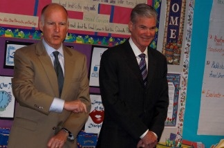 Gov. Jerry Brown, accompanied by State Superintendent for Public Instruction Tom Torlaksonwith, visits with a fourth-grade class at Arlanza Elementary School in Riverside earlier this month.