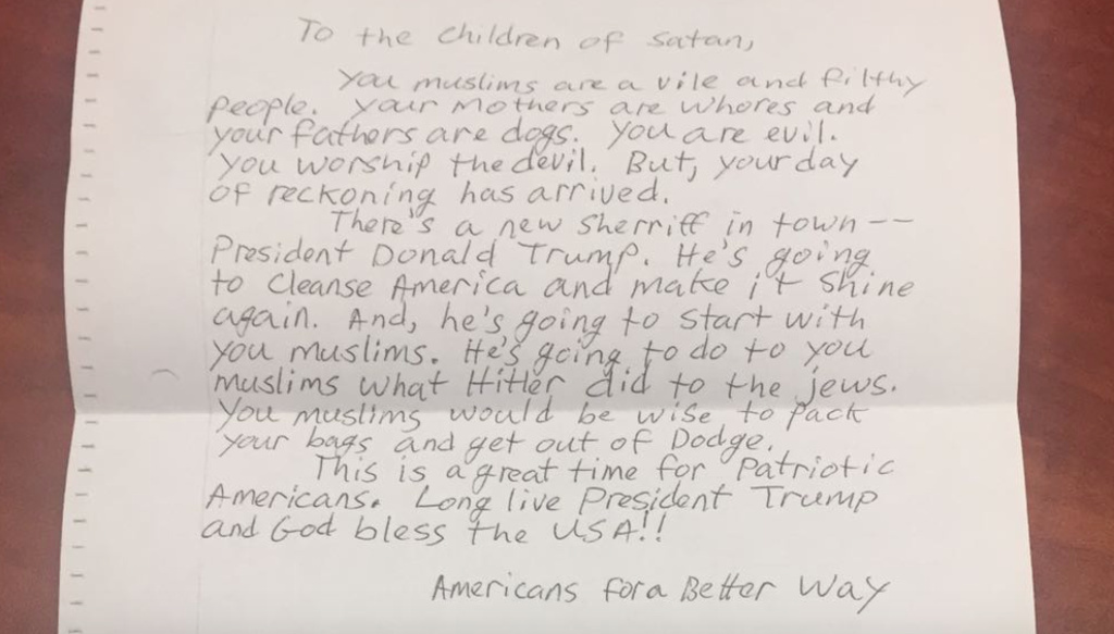 A photo of a letter received in recent days by the Islamic Center of Southern California. The Koreatown mosque was one of several in Southern California that received similar letters.
