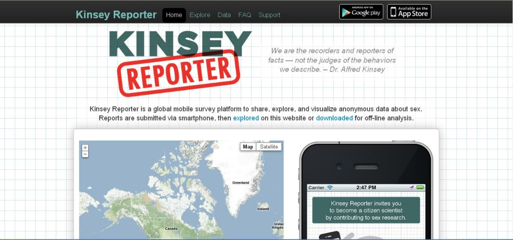 A screenshot of the Kinsey Reporter app web site (www.kinseyreporter.org) on September 12, 2012.