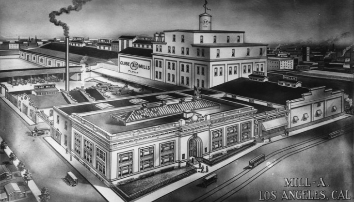 Undated drawing of the Globe Grain & Milling Co. headquarters and warehouse, at 907 E. 3rd Street in Los Angeles, now an arts district. The complex is the location for Hauser Wirth & Schimmel's new LA gallery.