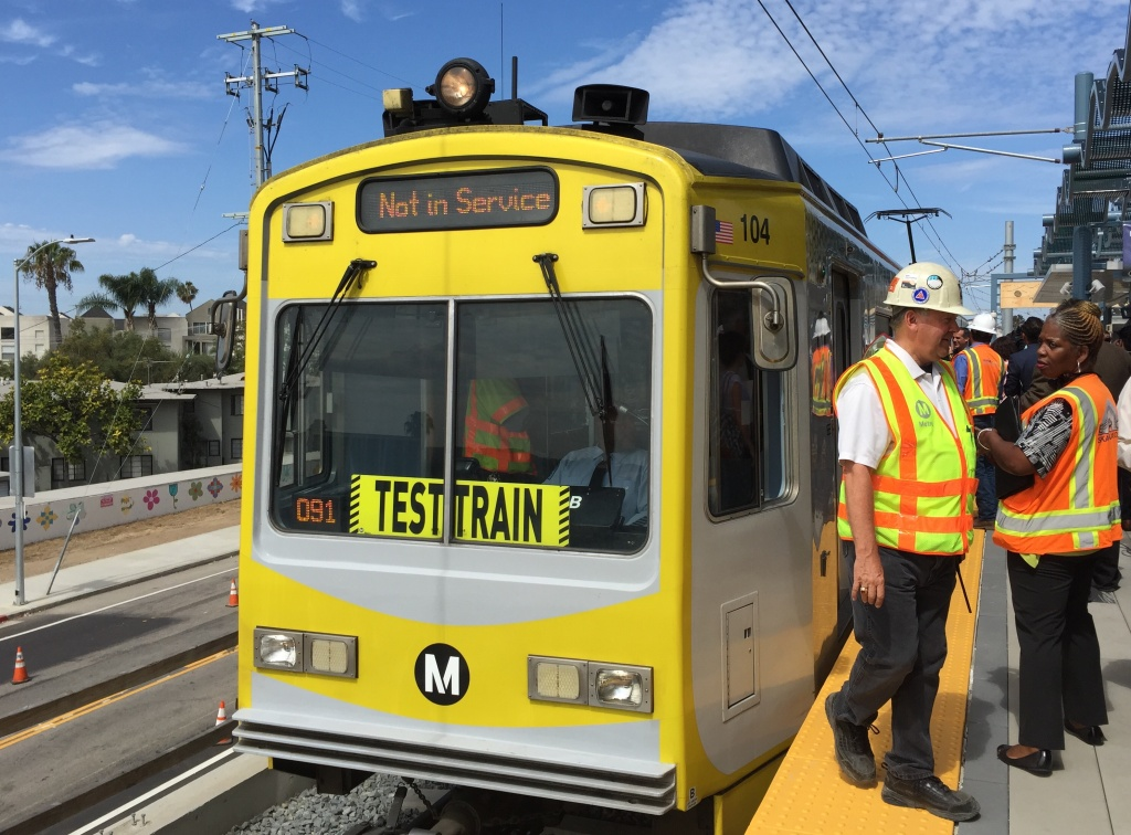 A test train runs the new Expo Line Phase 2 route between Culver City and Santa Monica.