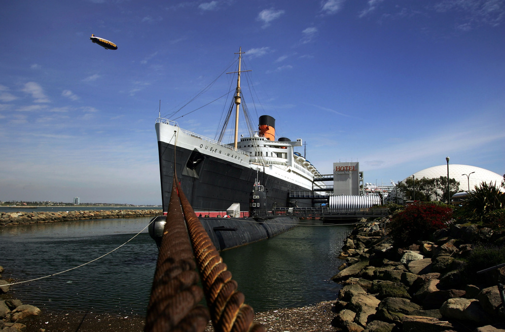 The Queen Mary, a historic ocean liner that was docked and turned into a tourist attraction 37 years ago, is seen where it still serves as a hotel and exhibit March 21, 2005 in Long Beach, California.