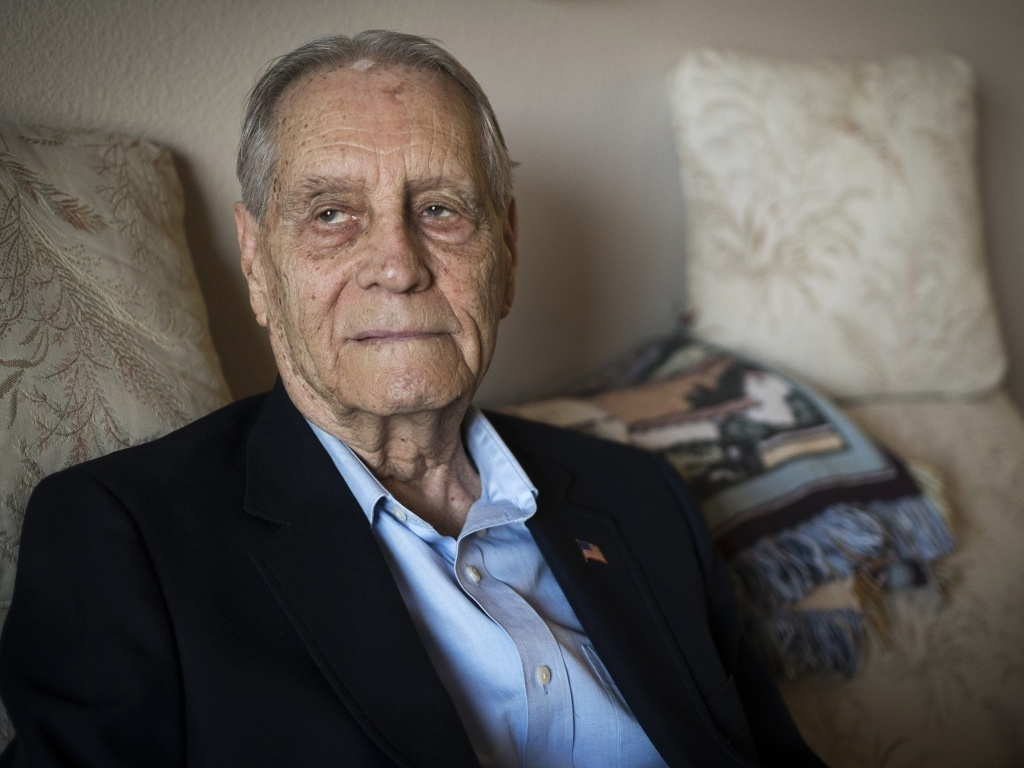 James Murphy, World War II veteran and prisoner of war, is photographed at his home in Santa Maria, Calif., on Thursday. Murphy received an apologize from a senior Mitsubishi executive for being forced to work in the company's mines during the war.