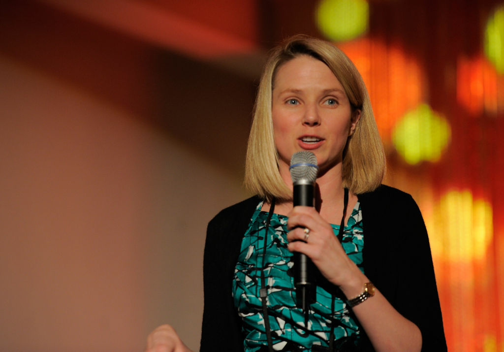 Vice president of consumer products for Google Marissa Mayer speaks onstage at the FORTUNE Most Powerful Women Dinner New York City at Hudson Room at the Time Warner Center on May 24, 2011 in New York City.
