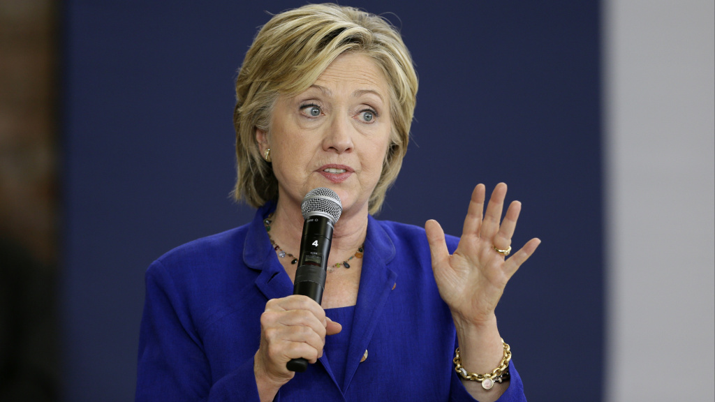 Democratic presidential candidate Hillary Clinton speaks during a community forum on health care at Moulton Elementary School in Des Moines, Iowa, on Tuesday.