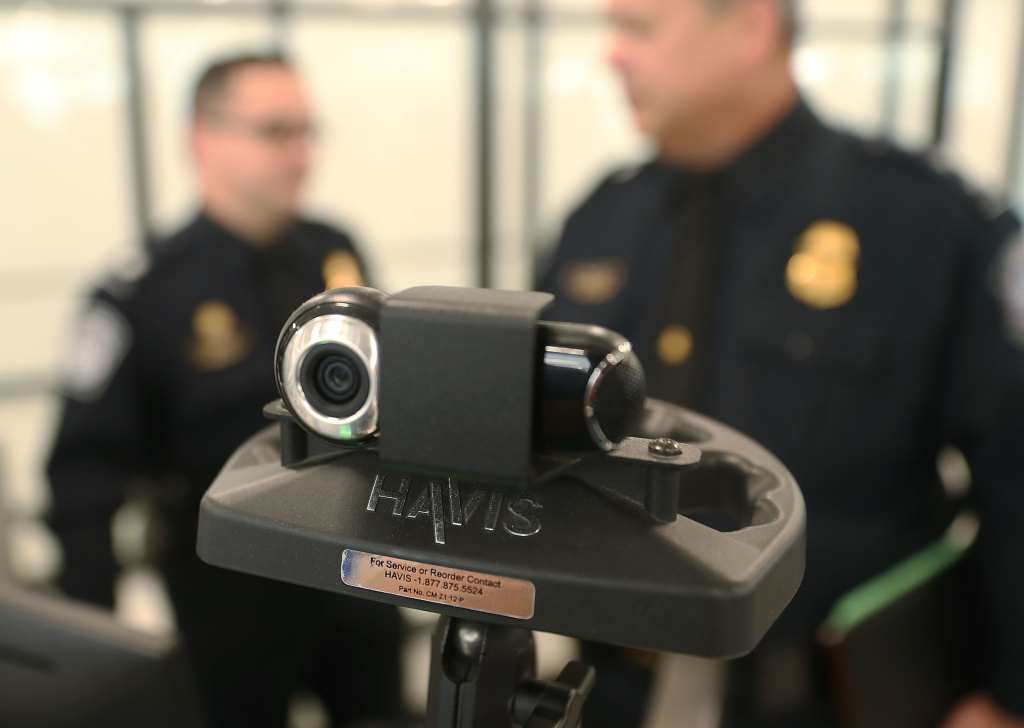 The camera is seen on a facial recognition device as U.S. Customs and Border Protection officers use it Miami International Airport to screen travelers entering the United States on February 27, 2018 in Miami, Florida.