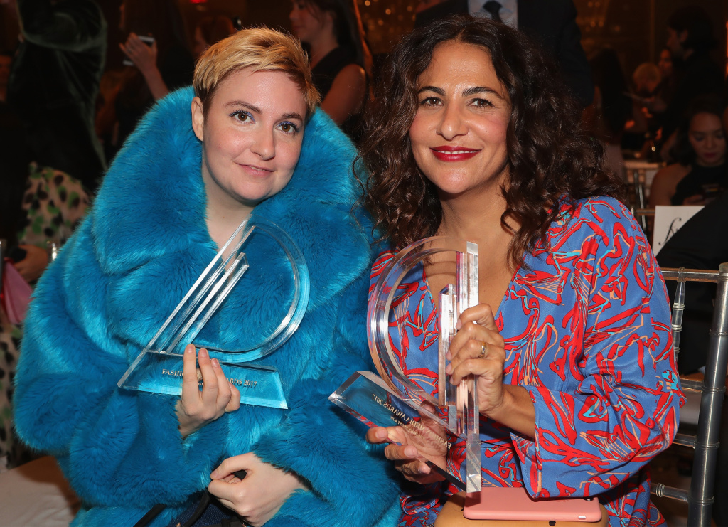 Actress Lena Dunham and director Jenni Konner attend the Daily Front Row's Fashion Media Awards at Four Seasons Hotel New York Downtown on September 8, 2017 in New York City.