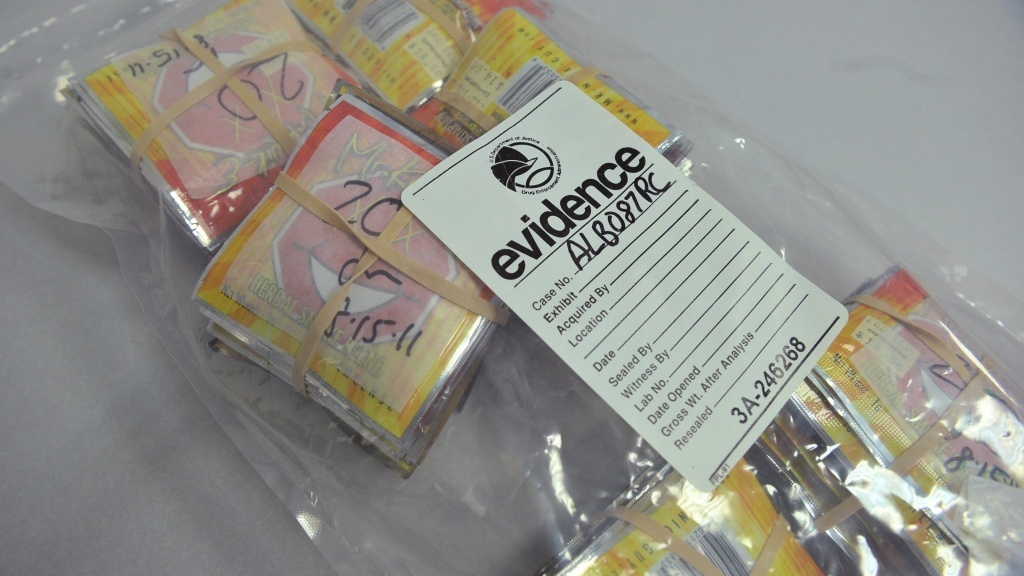 Synthetic drugs in evidence bags.