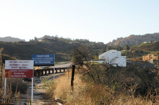 A photo of Woolsey Canyon Road as it leads to the Santa Susana Field Laboratory.