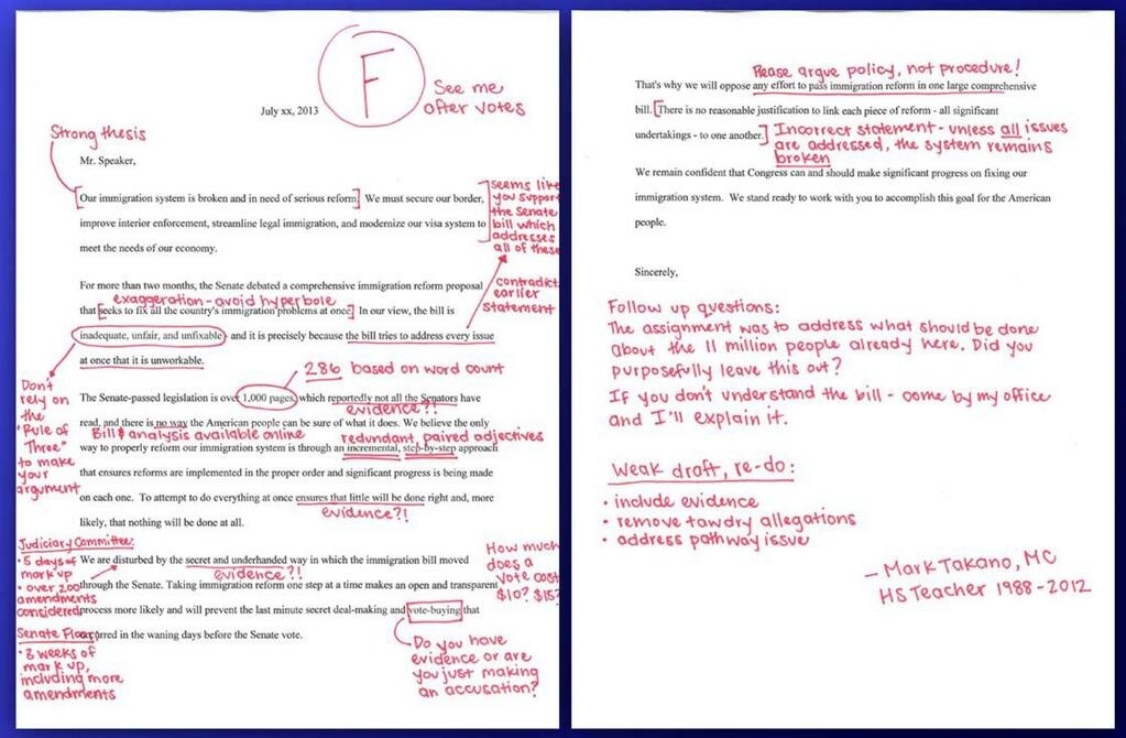 Former high school English teacher Mark Takano (D-Riverside) gives a failing grade to a Congressional colleague's immigration letter. For a larger version of the image, go to @RepMarkTakano on Twitter or click the link in the story below.