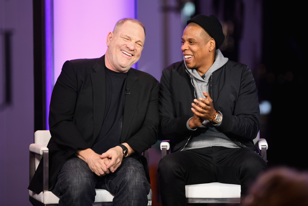 Harvey Weinstein and Jay-Z speak at MTV Studios on March 8, 2017 in New York City.