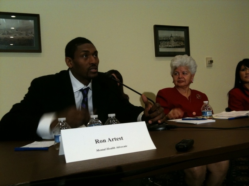Laker Ron Artest and Congresswoman Grace Napolitano