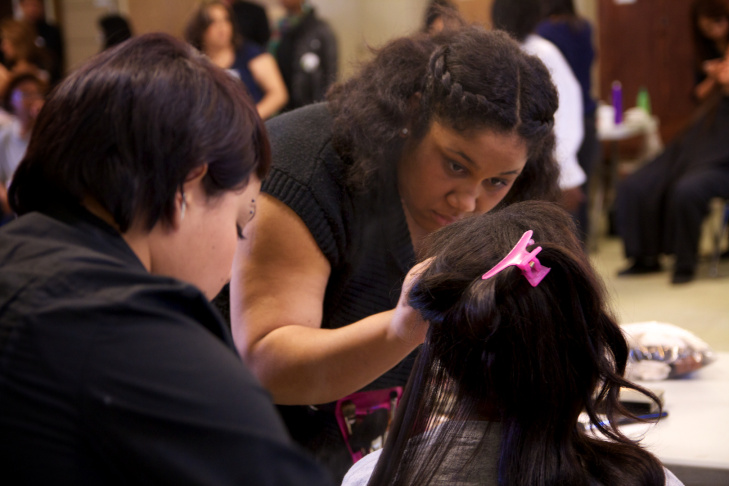 A girl getting a makeover at Los Padrinos Juvenile Hall