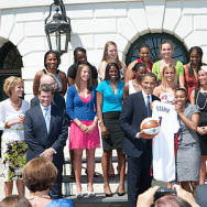The players, coaches, and other staff of the 2008-2009 UConn Huskies, winners of the 2009 national championship, are honored at the White House by President Barack Obama on April 27, 2009.