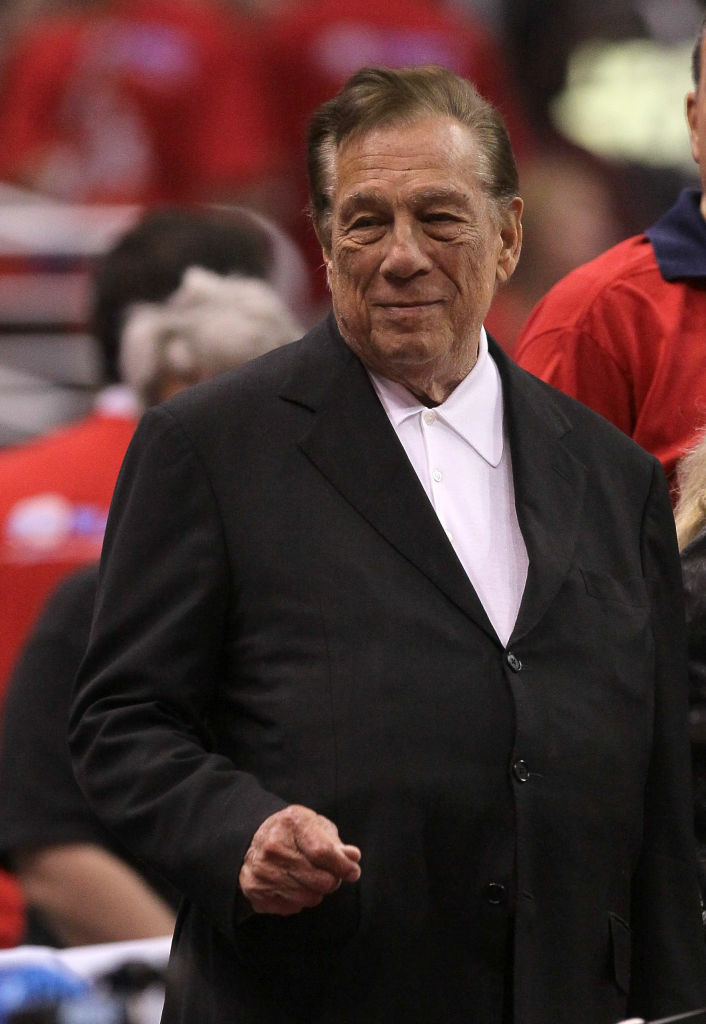 Los Angeles Clippers owner Donald Sterling stands on the sidelines before a game with the Memphis Grizzlies during the 2012 NBA Playoffs at Staples Center.