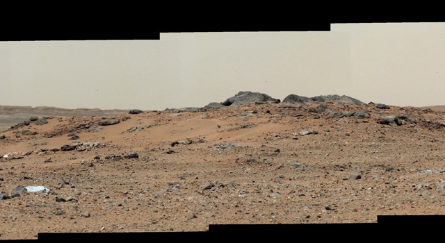 This scene combines seven images from the telephoto-lens camera on NASA's Mars rover Curiosity. The images were taken July 24, 2013.