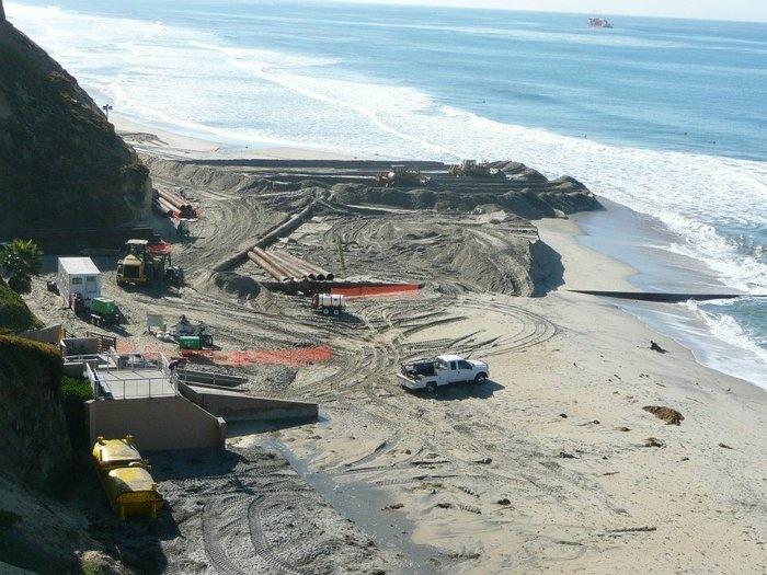 SANDAG's beach replenishment project in Fletcher Cove, Nov 2012.