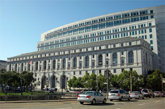 The California State Office Complex in San Francisco, which includes the Earl Warren Building and the Hiram W. Johnson Building. The Earl Warren Building houses the Supreme Court of California.