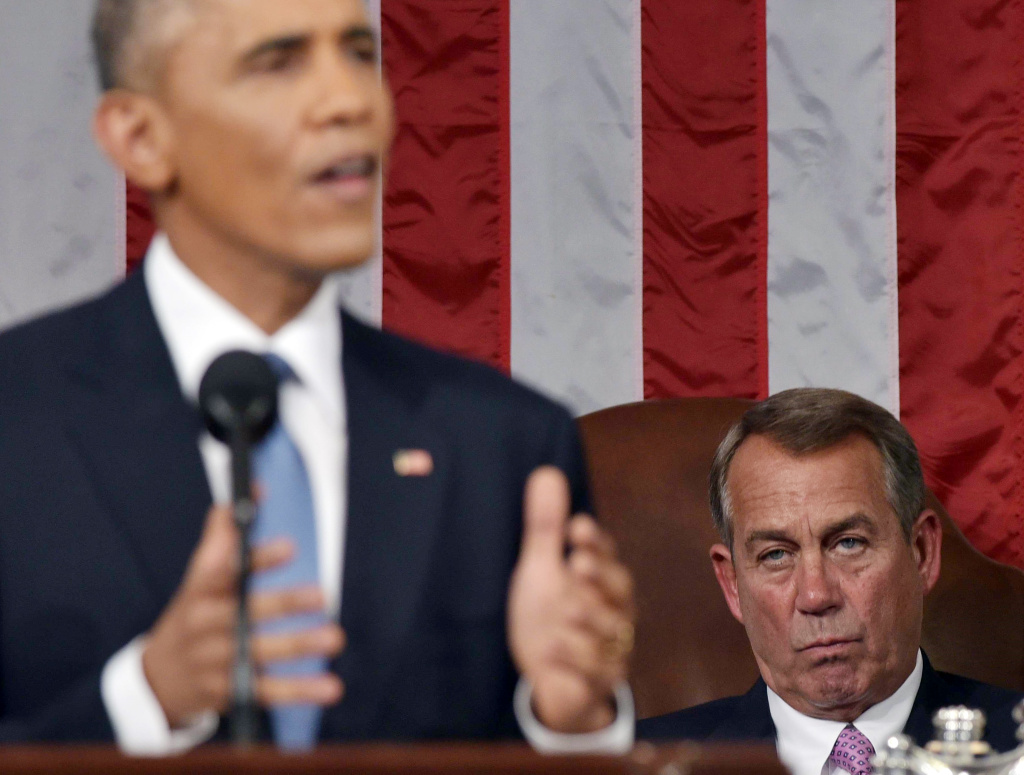 House Speaker John Boehner (R-OH) listens to U.S. President Barack Obama deliver the State of the Union address on January 20, 2015 in the House Chamber of the U.S. Capitol in Washington, DC.