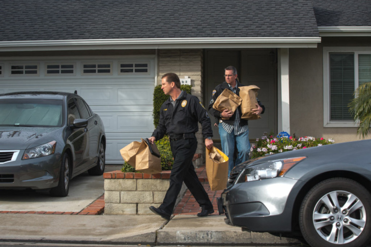 Police remove evidence from Christopher Jordan Dorner's residence in La Palma, Calif. on February 8th, 2013.
