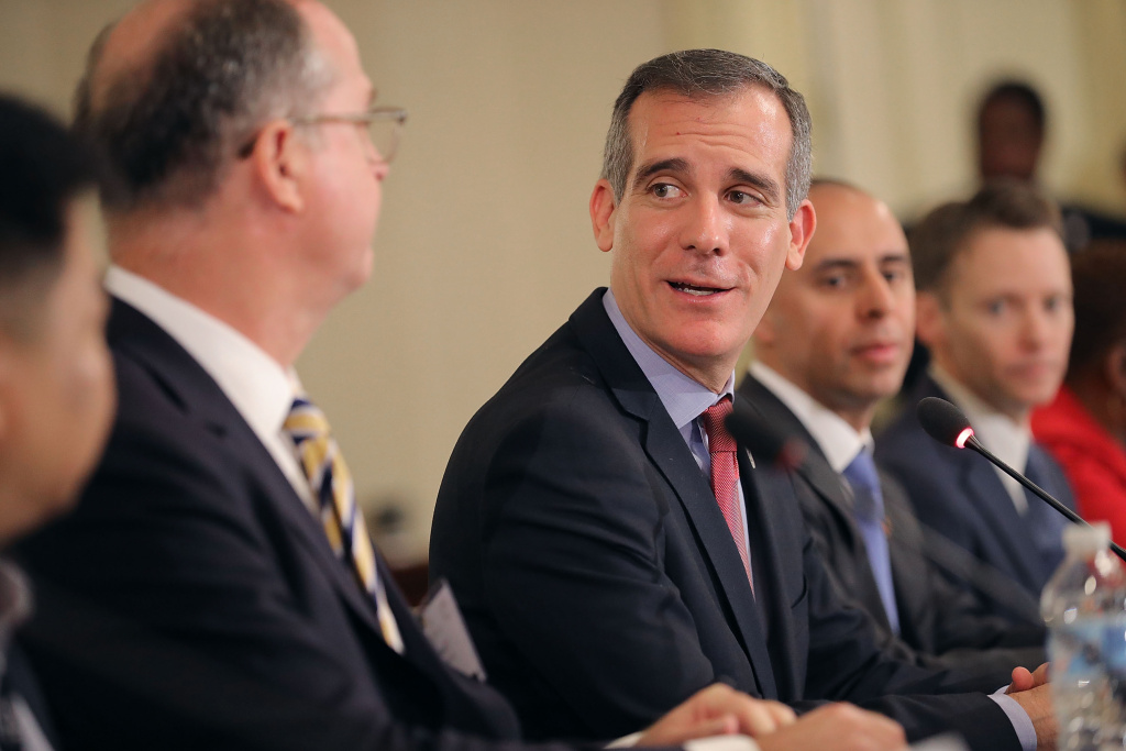 Los Angeles Mayor Eric Garcetti (center) presides over a meeting about immigration during the U.S. Conference of Mayors' 86th annual Winter Meeting at the Capitol Hilton January 25, 2018.