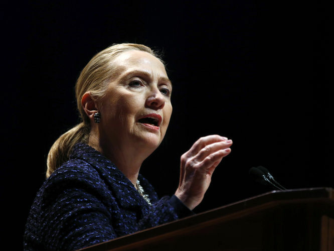 U.S. Secretary of State Hillary Clinton delivers a speech at Dublin City University in Ireland on December 6, 2012.