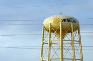 A water tower above the city of Vernon, California.