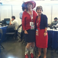 Patt Morrison with Barbara Boxer at DNC