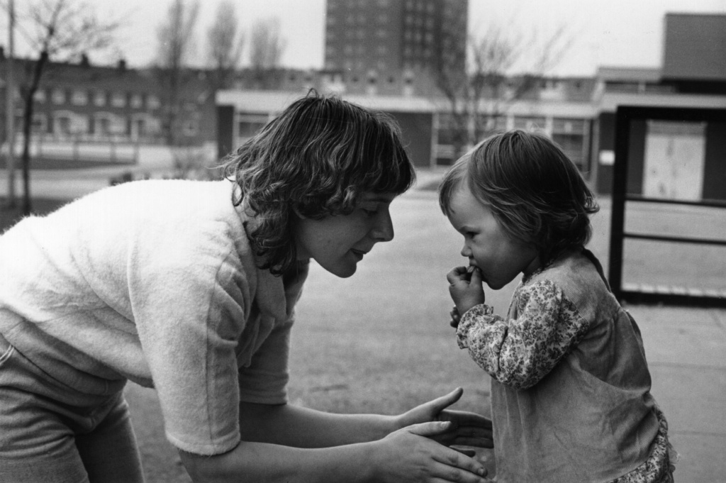 A young single mother and her child living on a housing estate in Middlesbrough, circa 1984. What influences the way younger generations think of older generations?