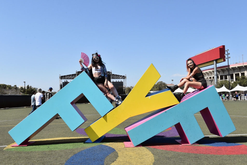 Festivalgoers during day 3 of FYF 2017 on July 23, 2017 at Exposition Park in Los Angeles, California.
