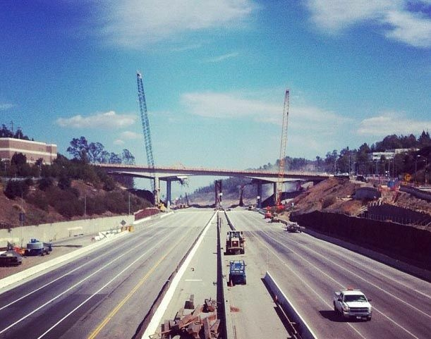 FILE: Construction on the 405 freeway shutdown known as Carmageddon 2 in 2012.