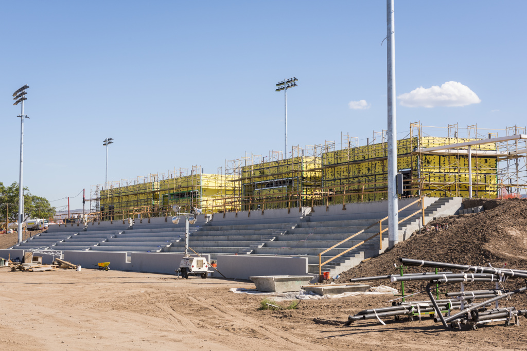 When the championship soccer field is complete there will be permanent seating for 5,000 spectators.