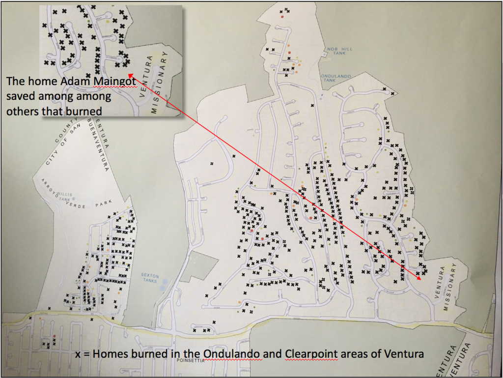 The map shows homes in the Ondulando and Clearpoint neighborhoods that were destroyed in the Thomas Fire, and the arrow indicates a home that was saved by a man who stayed behind after a mandatory evacuation order.