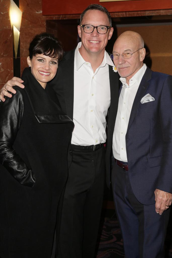 Actors Carla Gugino, Matthew Lillard and Sir Patrick Stewart pose at the