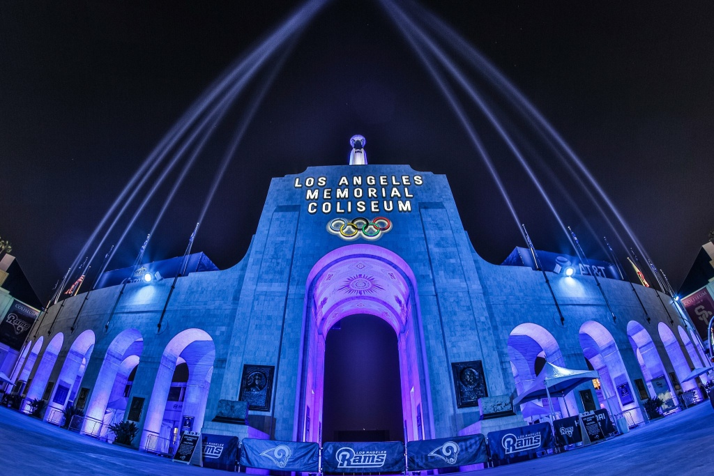 Blue and white lights to celebrate the Rams in the playoffs at the L.A. Memorial Coliseum.