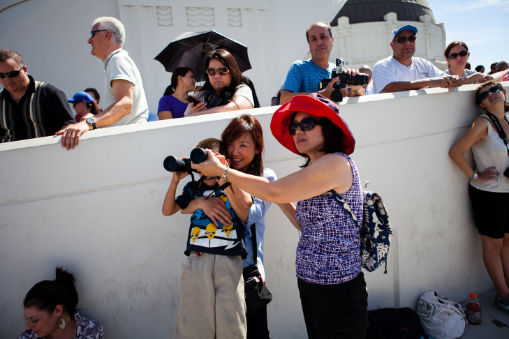 Shuttle fans staked out a spot and waited at Griffith Observatory for the Endeavour to fly by.