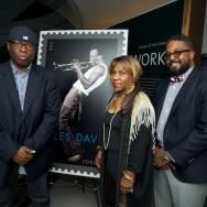 Miles Davis' nephew, Vince Wilburn Jr. (left) and the trumpeter's children, Cheryl Ann and Erin Davis, manage the late artist's estate.