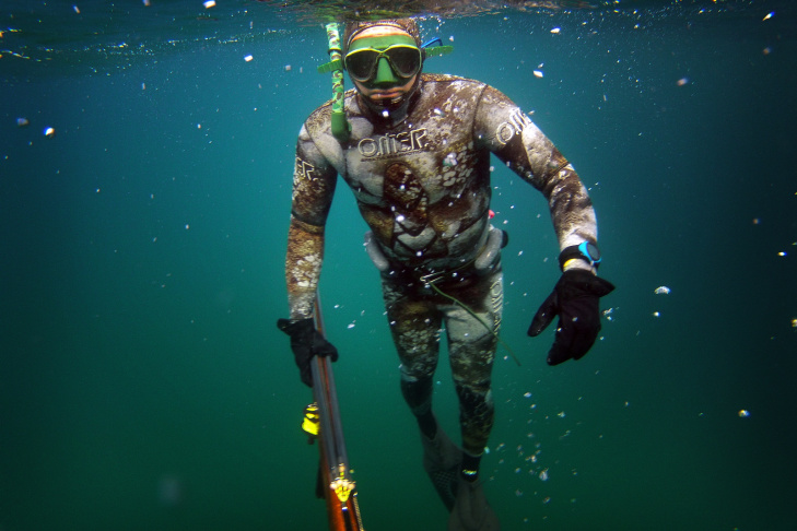 Dr. Joe Farlo spearfishes near Redondo Beach on Wednesday, Aug. 14. The sport of spearfishing started in San Diego during World War II.