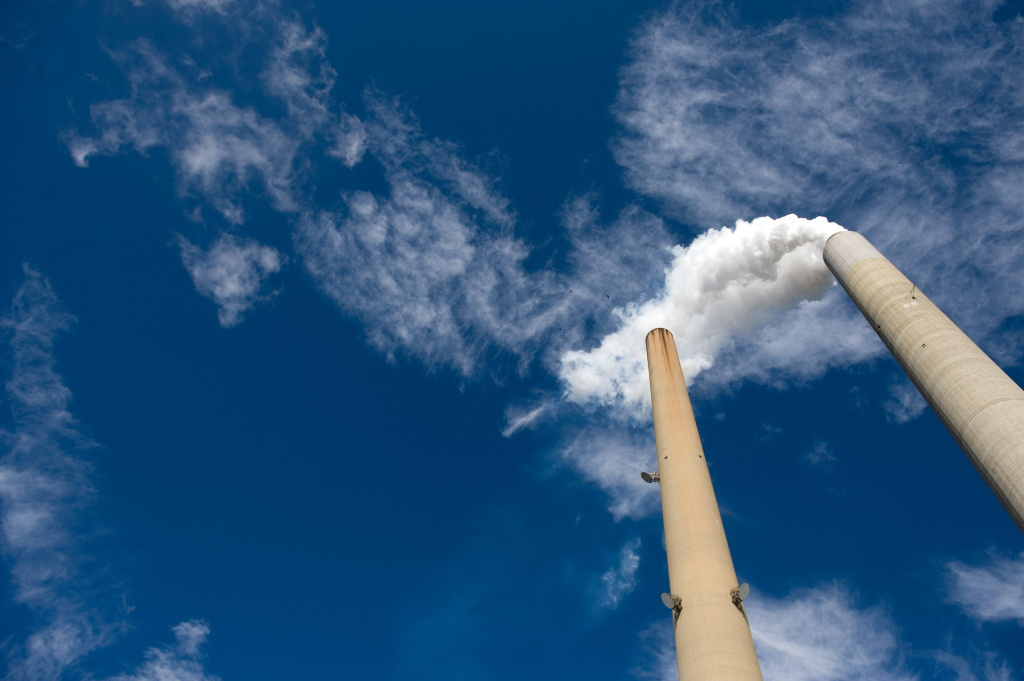 The smoke stacks at American Electric Power's (AEP) Mountaineer coal power plant in New Haven, West Virginia, October 30, 2009.