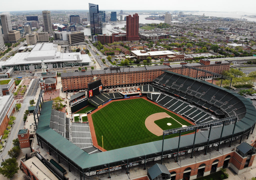 An aerial view from a drone shows the Camden Yards baseball stadium on April 29, 2020 in Baltimore, Maryland.