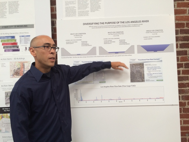 Posters highlight the considerations being researched as part of architect Frank Gehry's plan for the Los Angeles River.