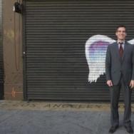 LA Mayor Eric Garcetti with Collette Miller's wings.